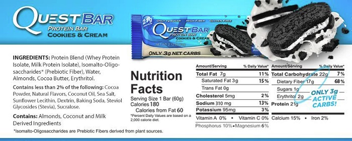 Quest Protein Bar Nutrition Cookies and Cream